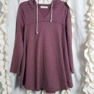 Marled swing style long hoodie sweatshirt pockets